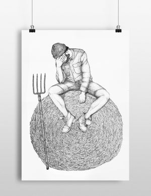 Dessin / «Être sur la paille»