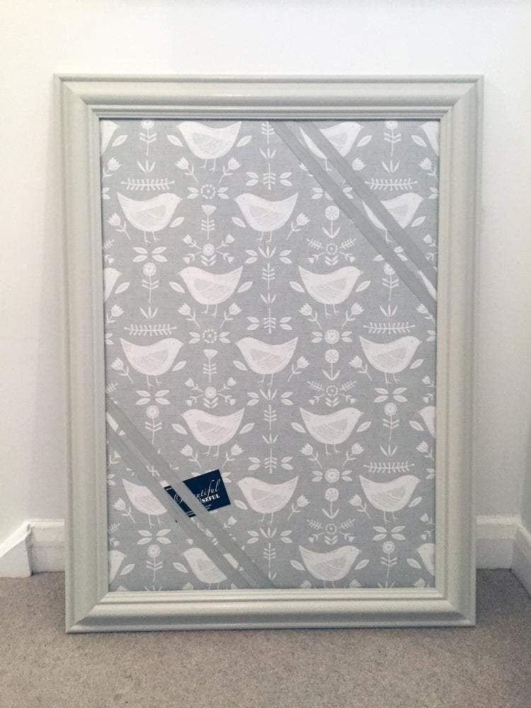 Image of Large Grey Framed Narvik Birds Fabric Pin Board