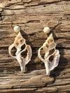 Seashell Skeleton & Upcycled White Bead Earrings