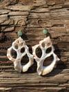 Seashell Skeleton & Upcycled Green Bead Earrings