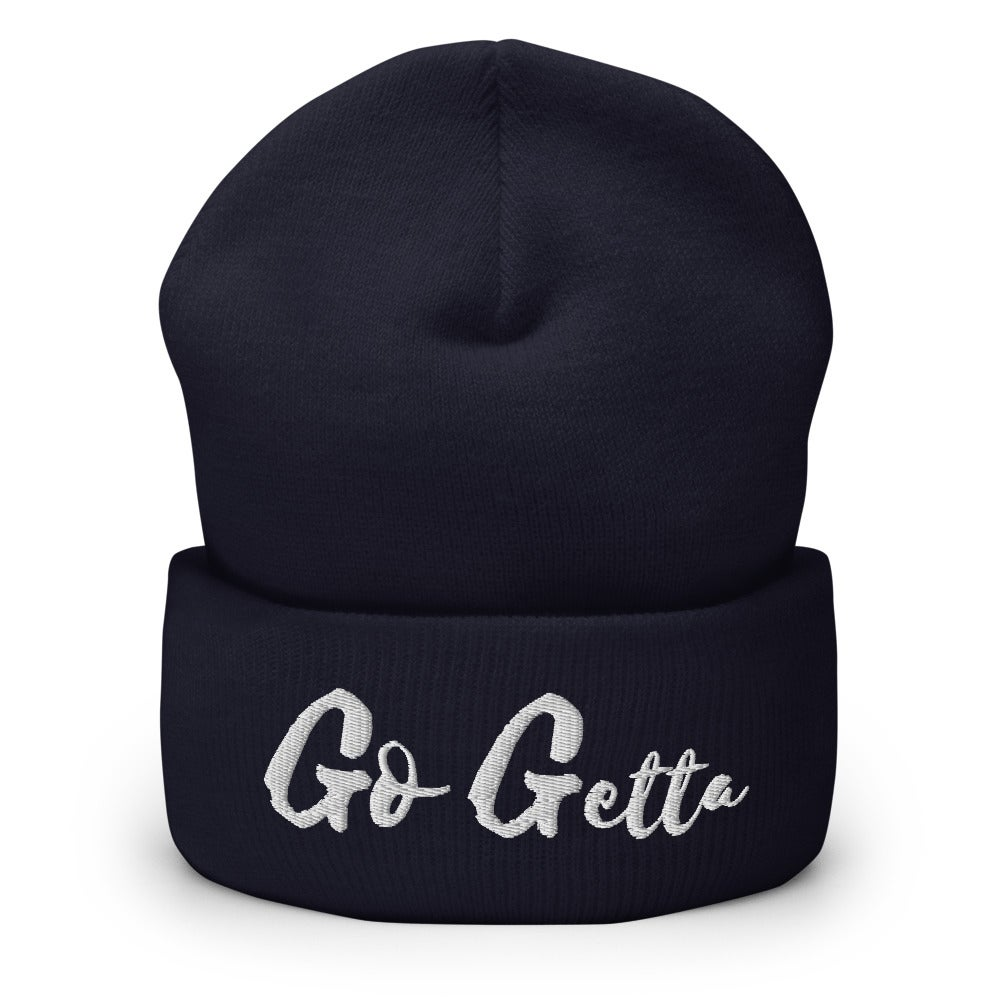 Image of Go Getta Cuffed Beanie (Back, Navy, Green)