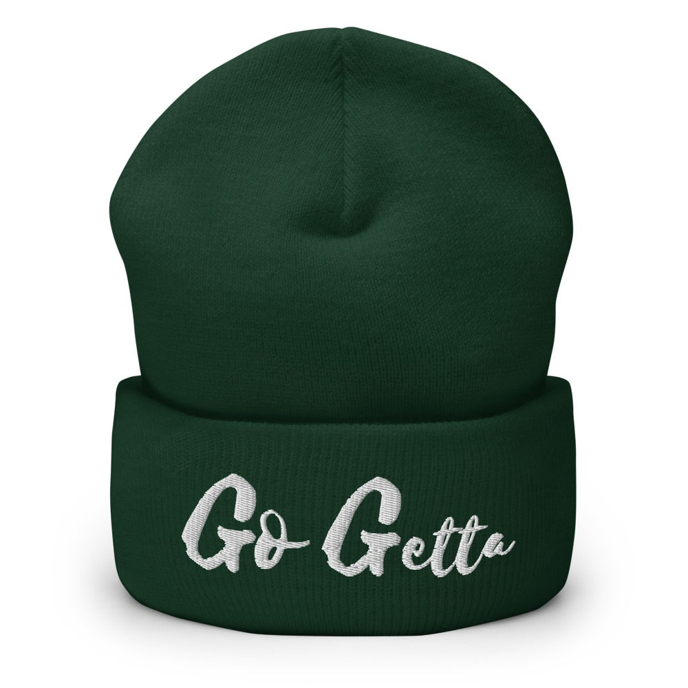 Image of Go Getta Cuffed Beanie (Back, Navy, Green)