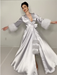 """Image of Silver Marabou-cuffed """"Beverly"""" Dressing Gown"""