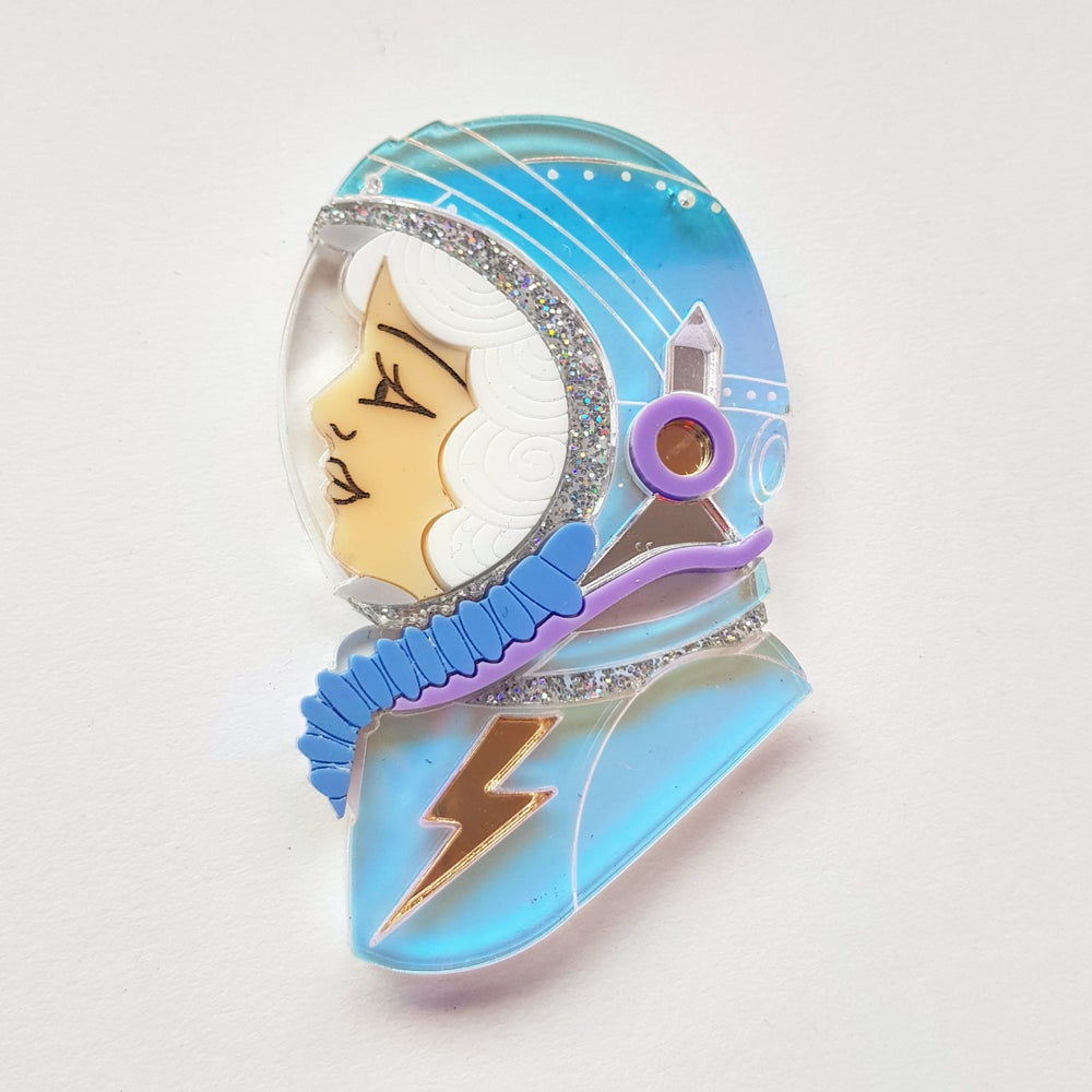 Image of Spacewoman Brooch - White - PRE ORDER