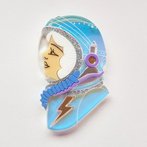 Image of Spacewoman Brooch - White