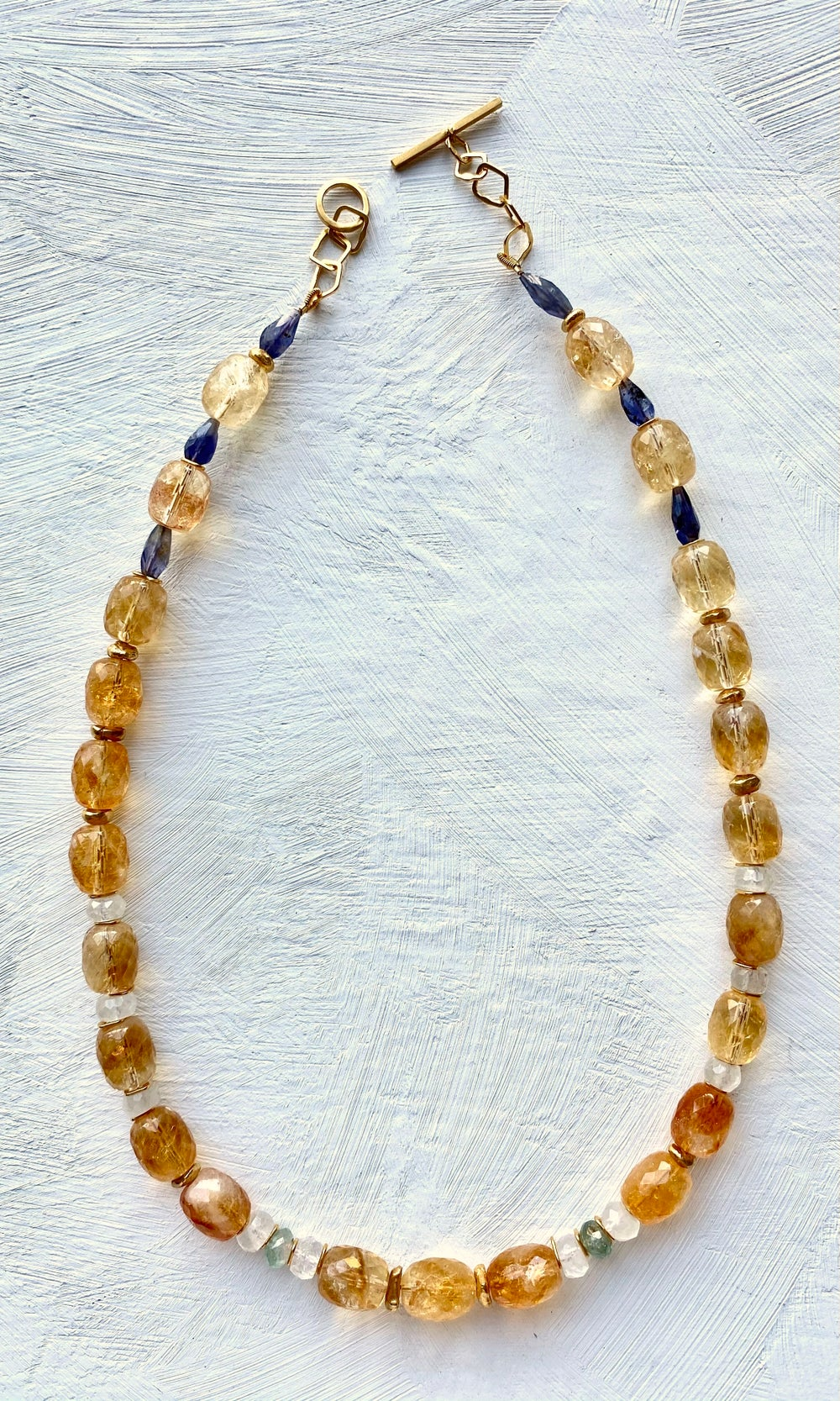 Image of Indian summer beaded necklace- Citrine/ Iolite