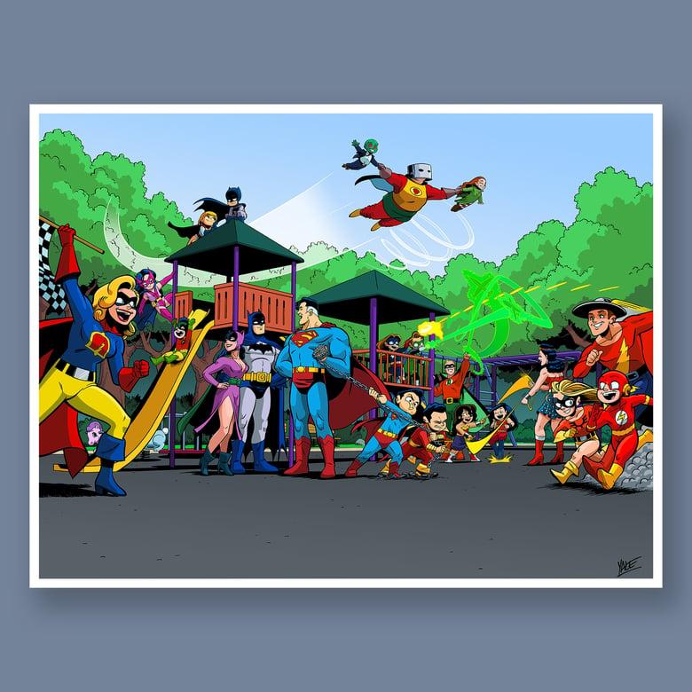 "Image of *NEW* JL8 + JSA: Worlds Collide - 17.5"" x 22.5"" Signed Print"