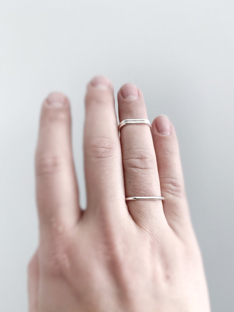 Image of Slightly Smashed Rings in Sterling Silver