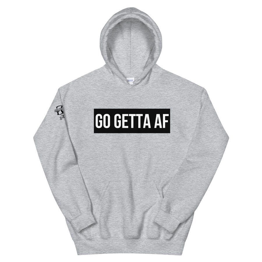 Image of Go Getta AF Label Unisex Hoodie (Red, White, Gray)