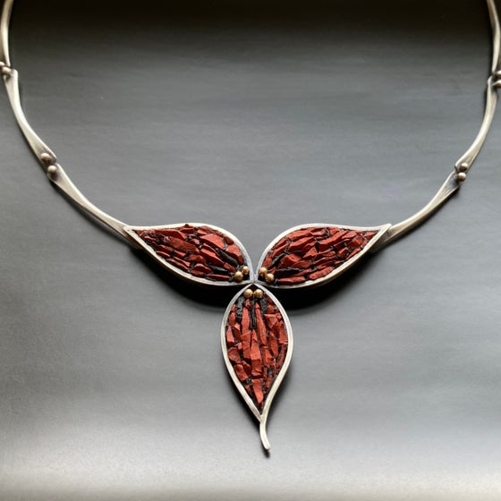 Image of Red Trillium Micro Mosaic Necklace