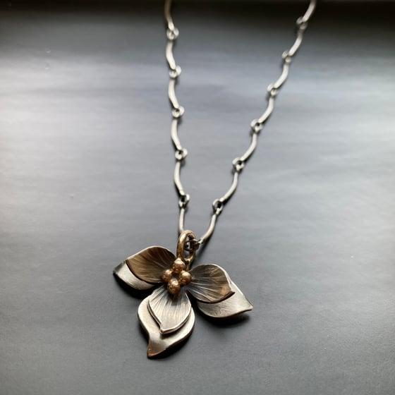 Image of Lotus Pendant or earrings- 14k Center