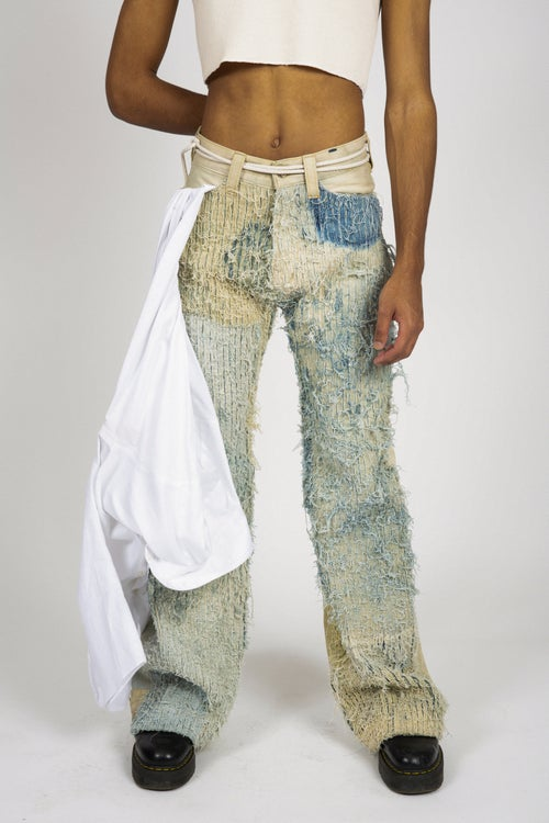 Image of WALNUT-DYED CHENILLE OVERFLOW JEANS