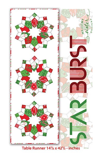 Image of StarBurst Table Runner Pattern with Double Wide 4-Patch Template (Hard Copy)