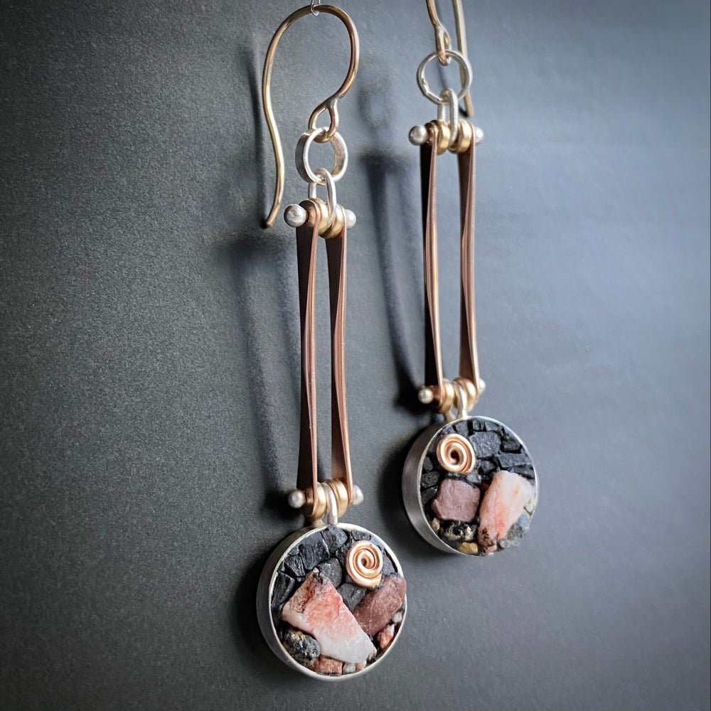 Image of Pink Moon Mountainscape Earrings