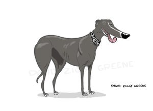 Happy Greyhound print (Charity item)
