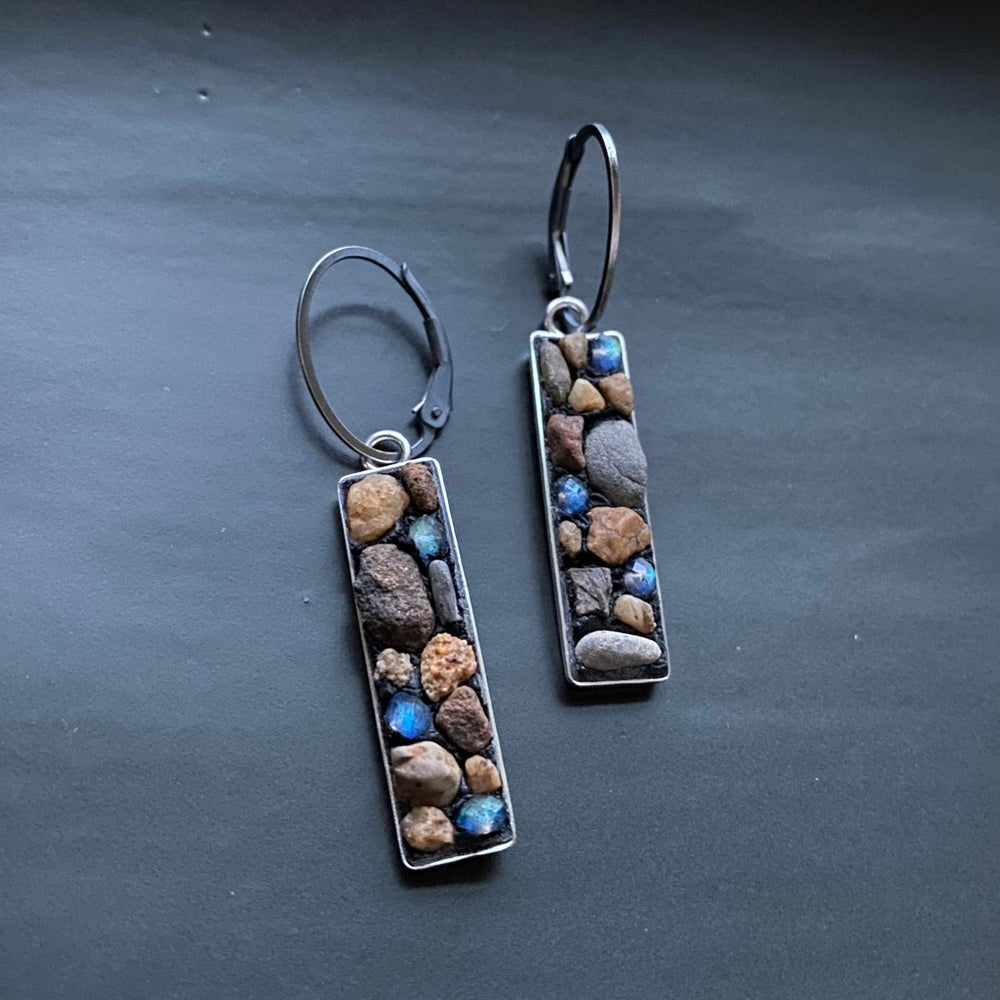Image of Labradorite and River Rock Earrings