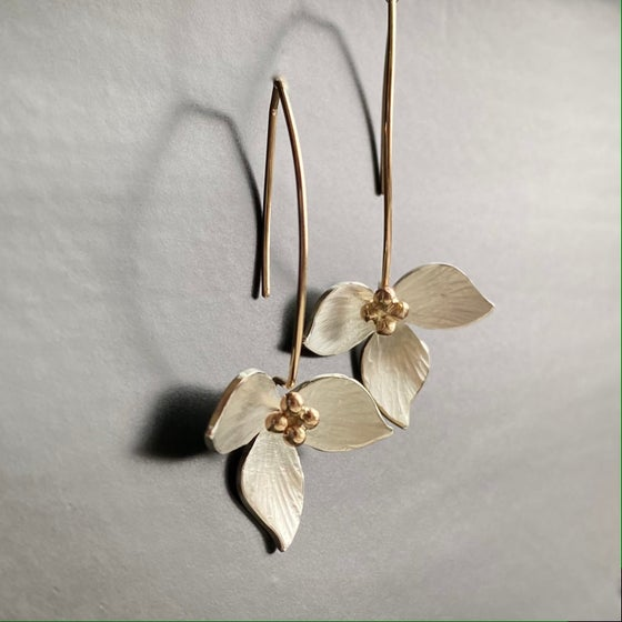Image of Lotus Earring with 14k Bead center