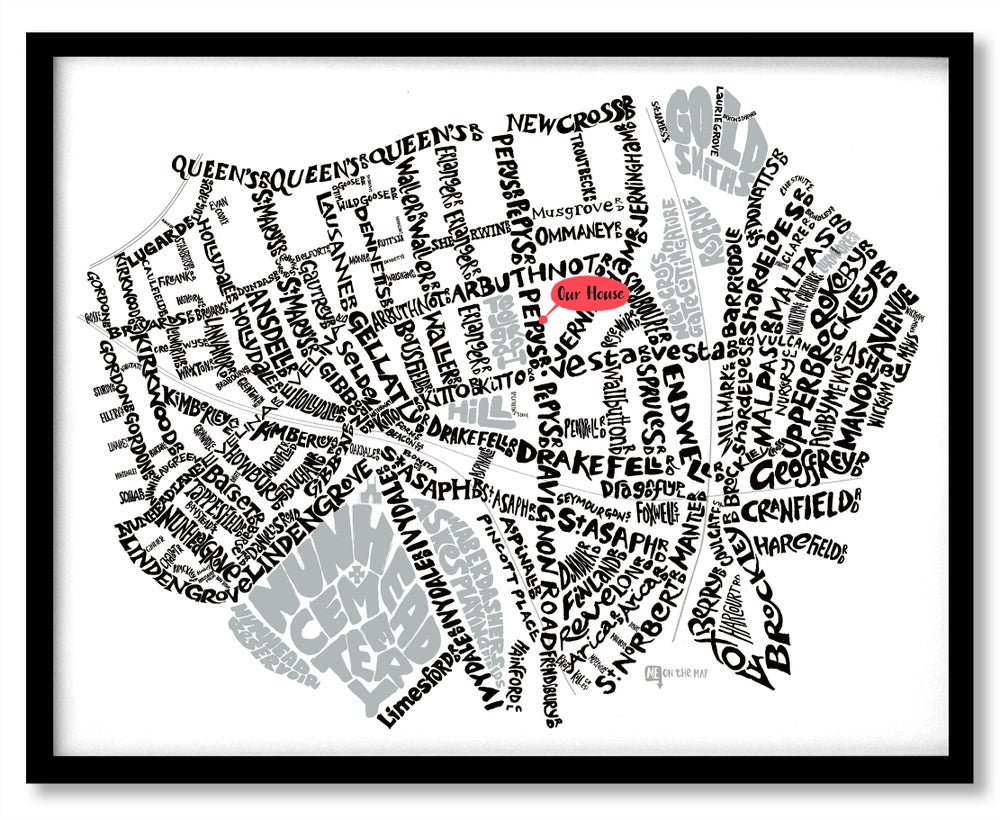 Image of Telegraph Hill SE14 - SE4 - SE London Type Map - White