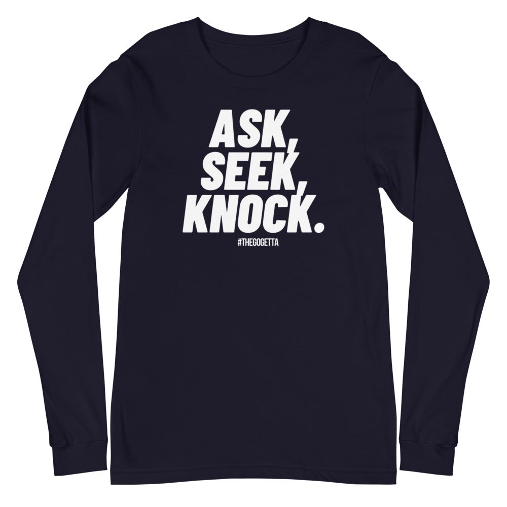 Image of Ask Unisex Long Sleeve Tee (White Print)