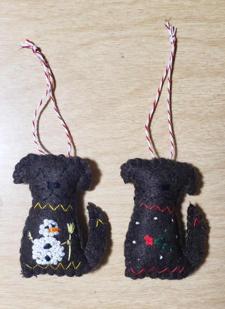 Image of Hand Embroidered Sweater Dog Ornaments