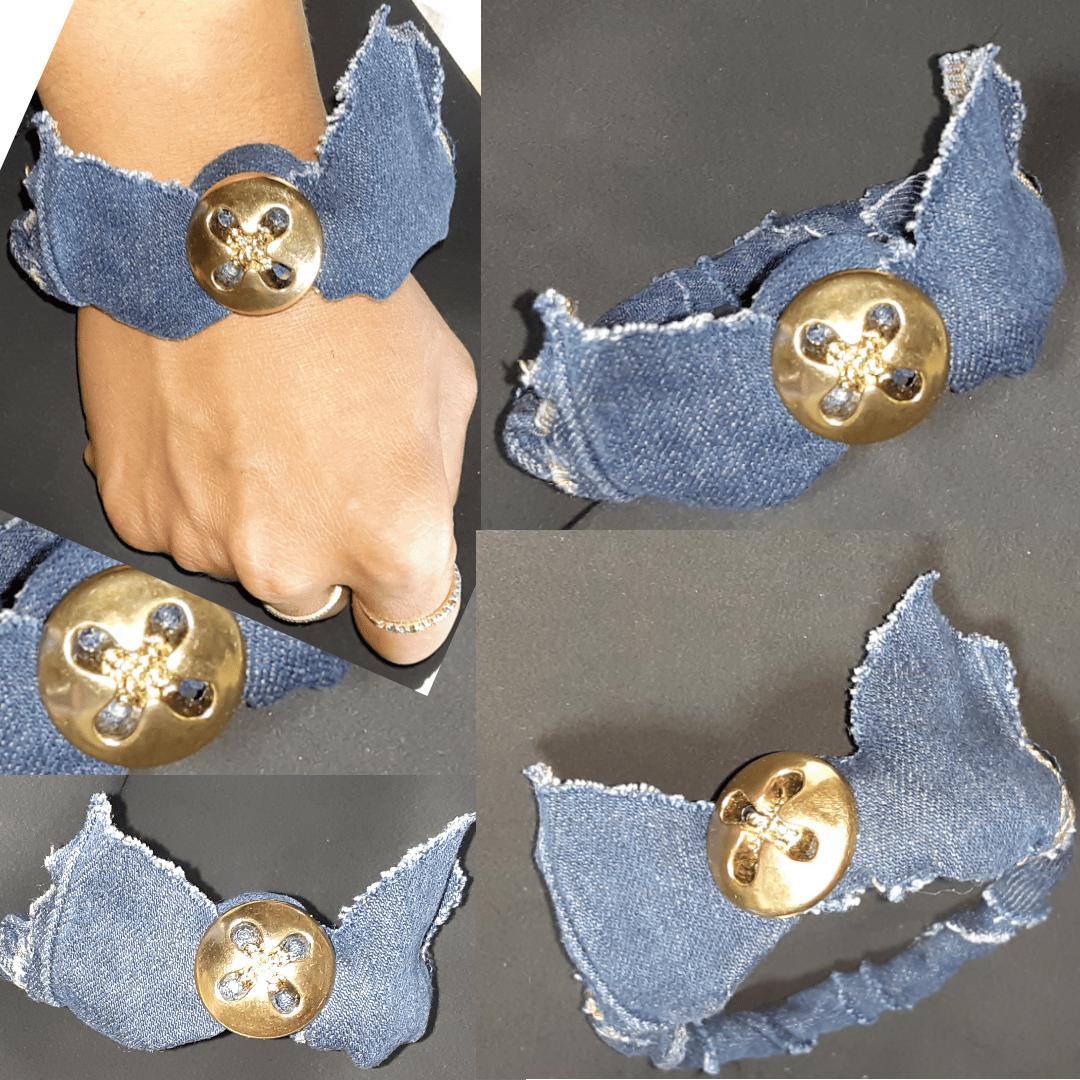 Image of Tasty Raw Edge Denim Button Crown Bangle Bracelet