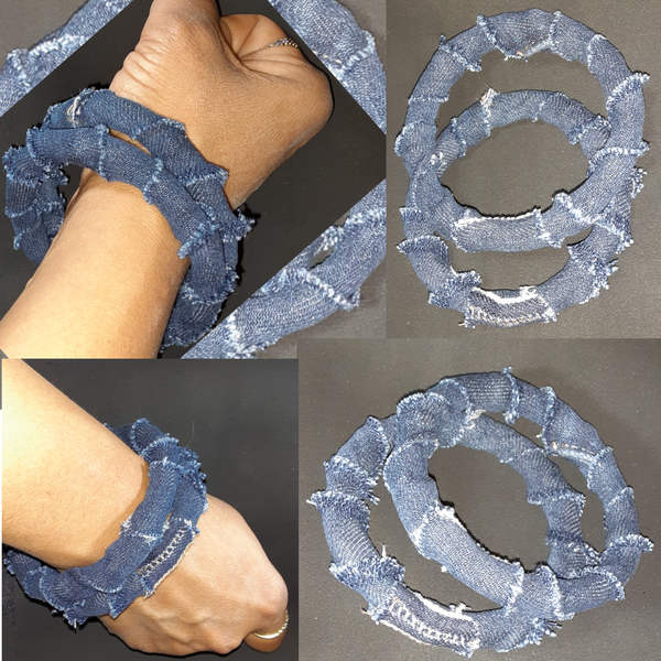 Image of Tasty Raw Edge Denim Tracks N Frayed Edges Bangle Set