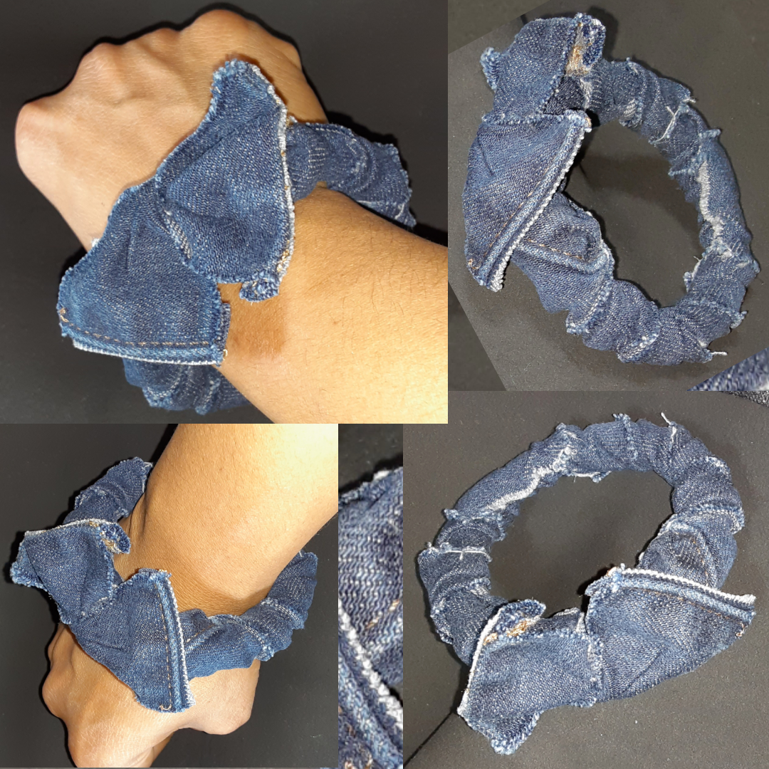 Image of Tasty Raw Edge Denim  Teathered Wings Bangle Bracelet