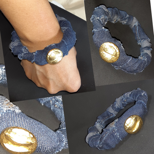 "Image of Tasty Raw Edge Denim ""Pressed"" Bangle Bracelet"