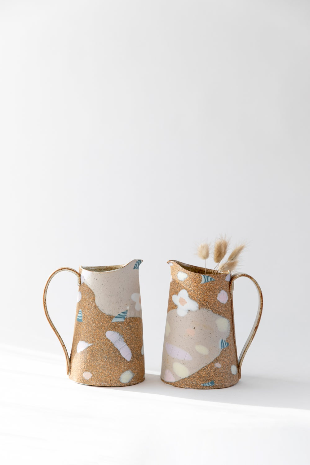 Image of Candy Pastel Flowers on Toasty Clay - Medium Pitcher