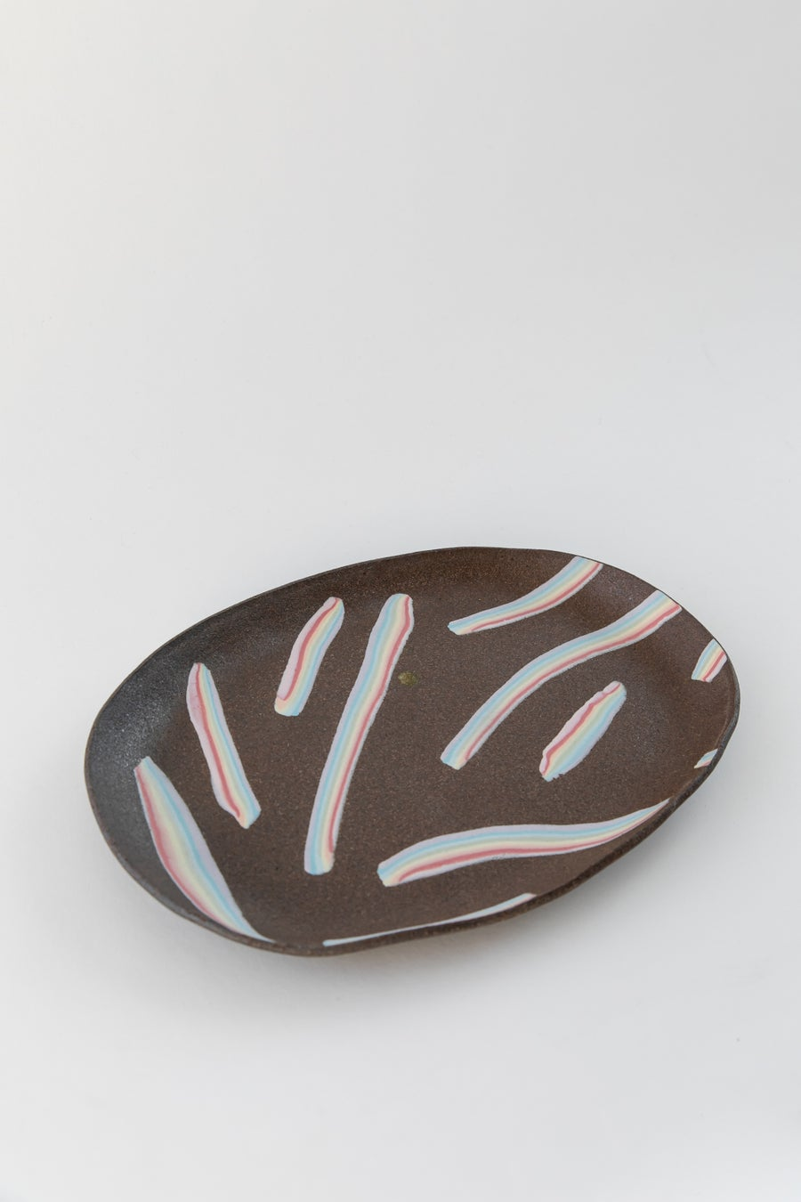 Image of X-Large Porcelain Inlay Serving Platter - Rainbow on Dark Sky