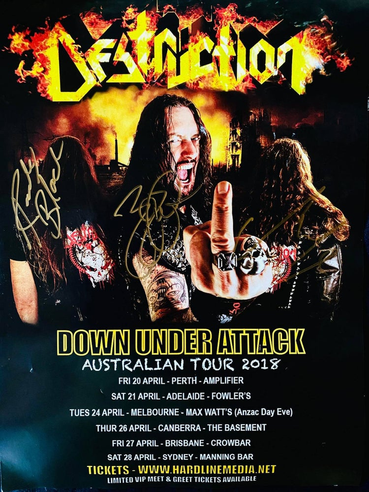 Image of DESTRUCTION - Australian Tour Poster - 2018 - AUTOGRAPHED - only ONE LEFT