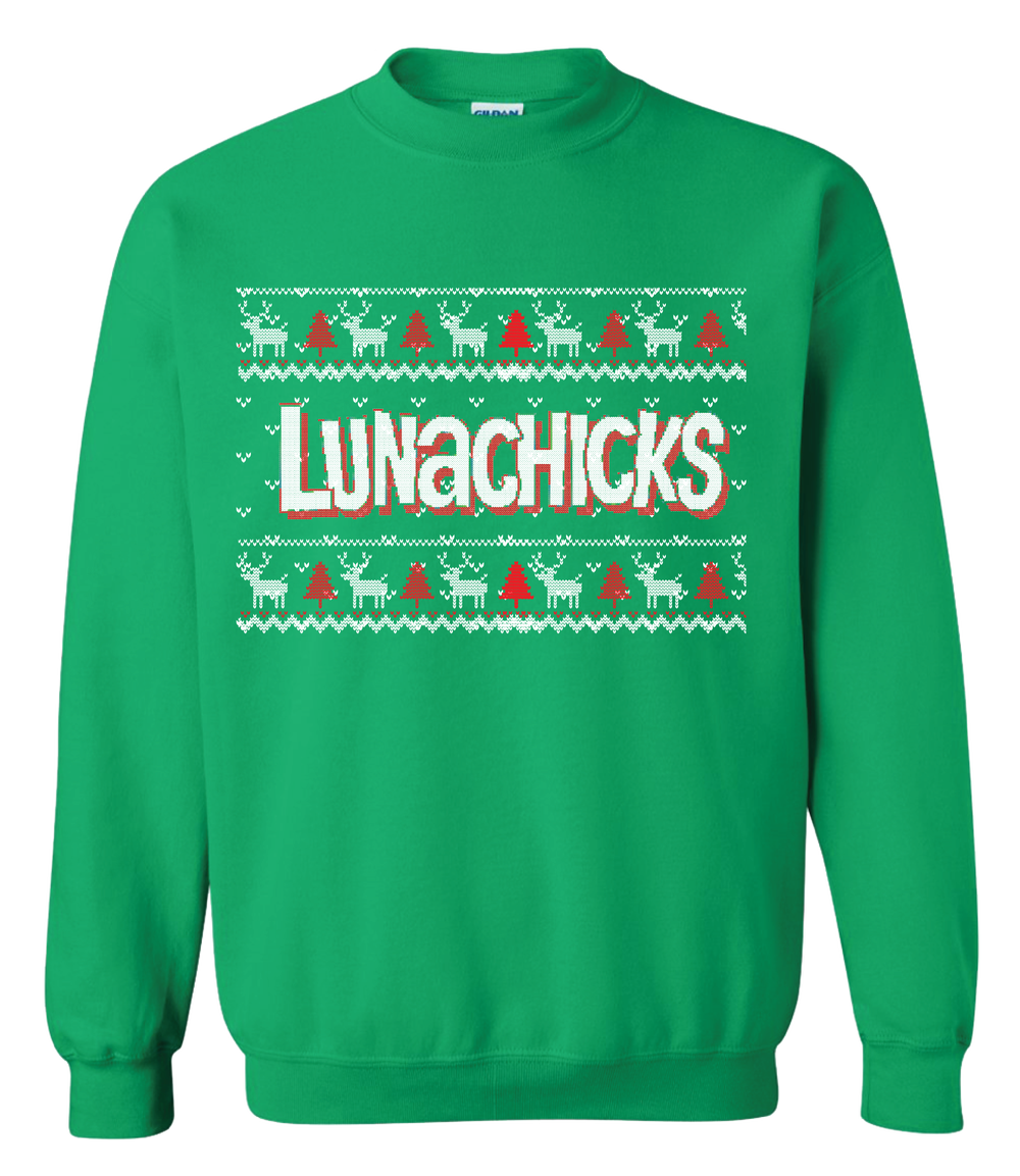 LUNACHICKS LIMITED EDITION GREEN UGLY CHRISTMAS SWEATER