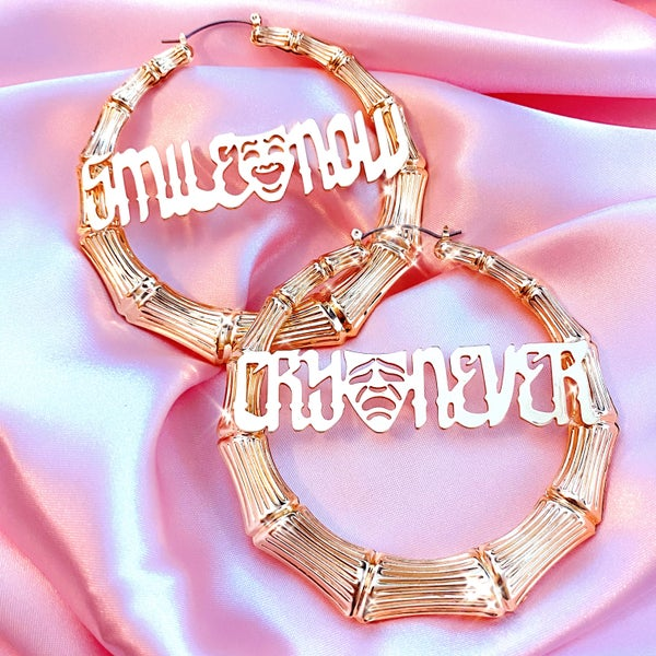 """Image of """"Smile Now Cry Never"""" Earrings GOLD"""