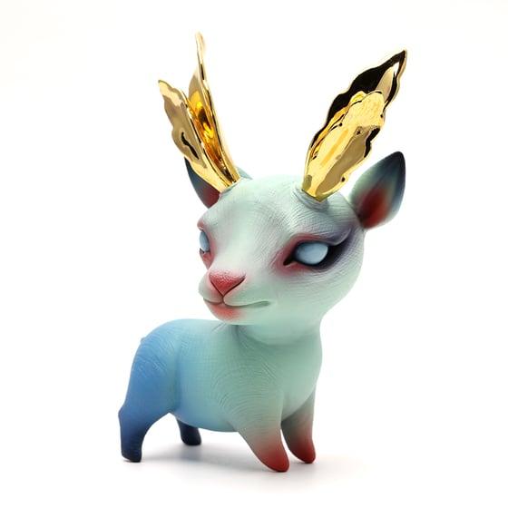 Image of Chikkoi Yagi Elder (teal/gold leaf horns/mini body)