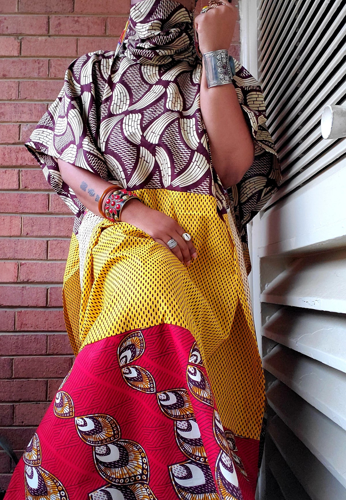 Image of Mixed Print Poncho