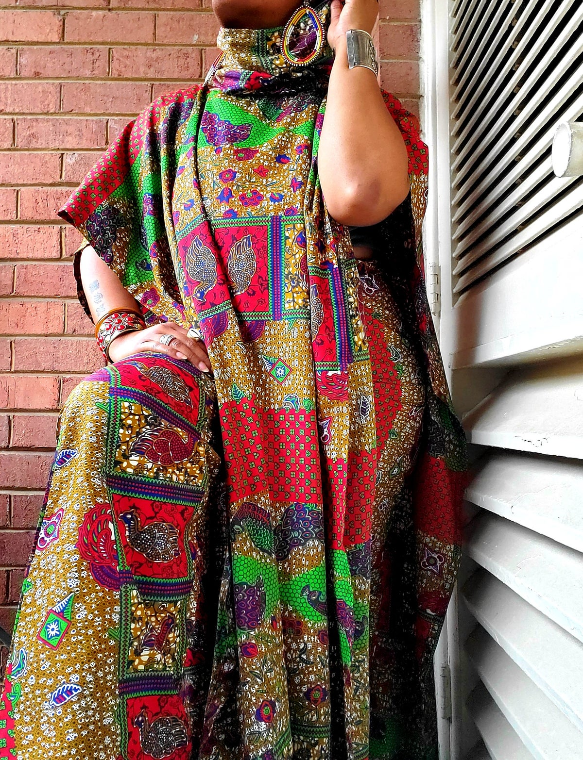 Image of Full Length Ankara Poncho