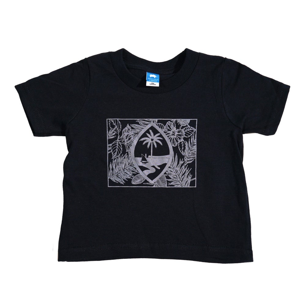 Image of FLORAL FLAG - YOUTH BLACK TEE