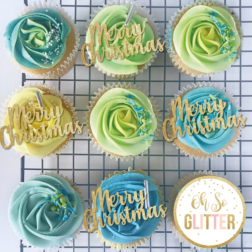 Image of Merry Christmas Cupcake Toppers - Pack of 6