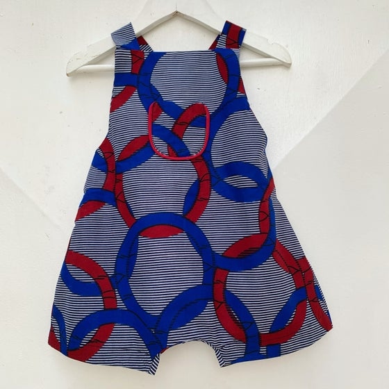 Image of Boy romper in interlocking blue