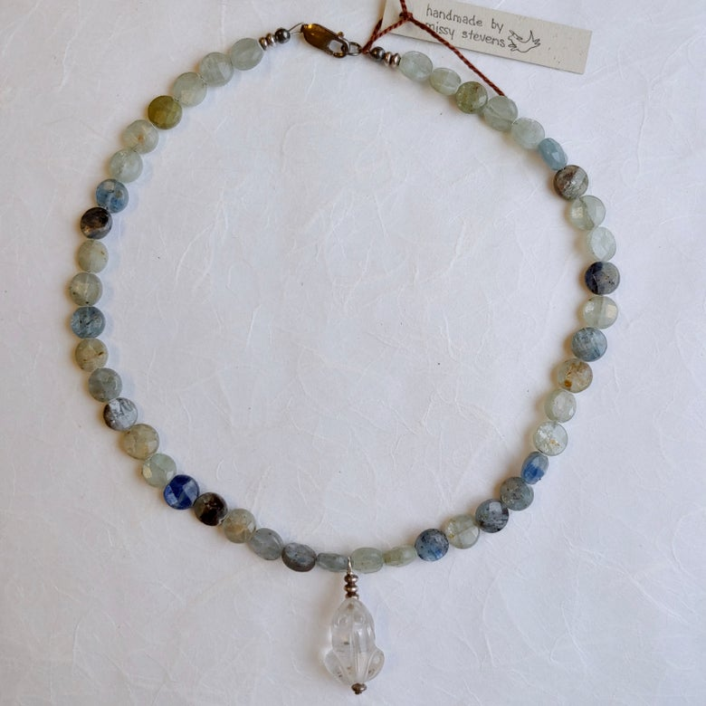 Image of Kyanite necklace with crystal frog