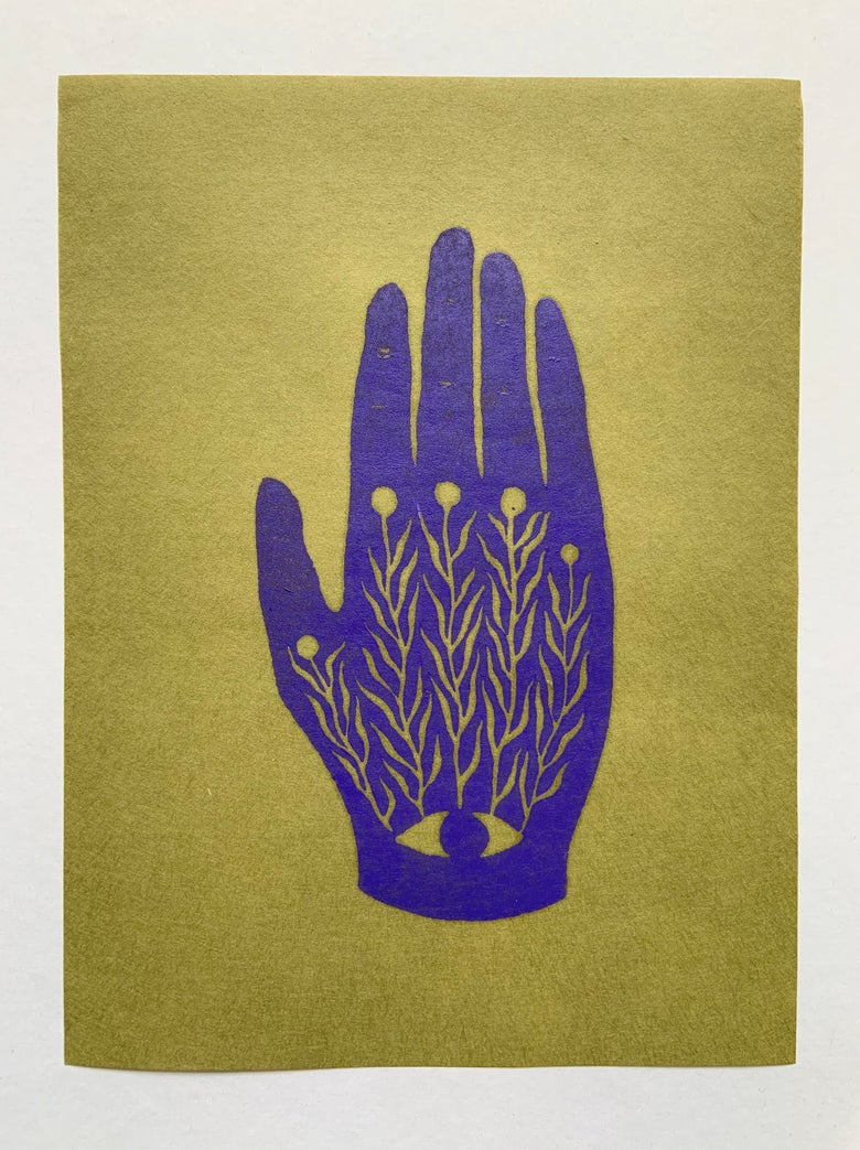 Image of Centered in Palm: Violet on Moss Paper