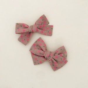 Image of Barrette & bloomer coton taupe fleurs roses