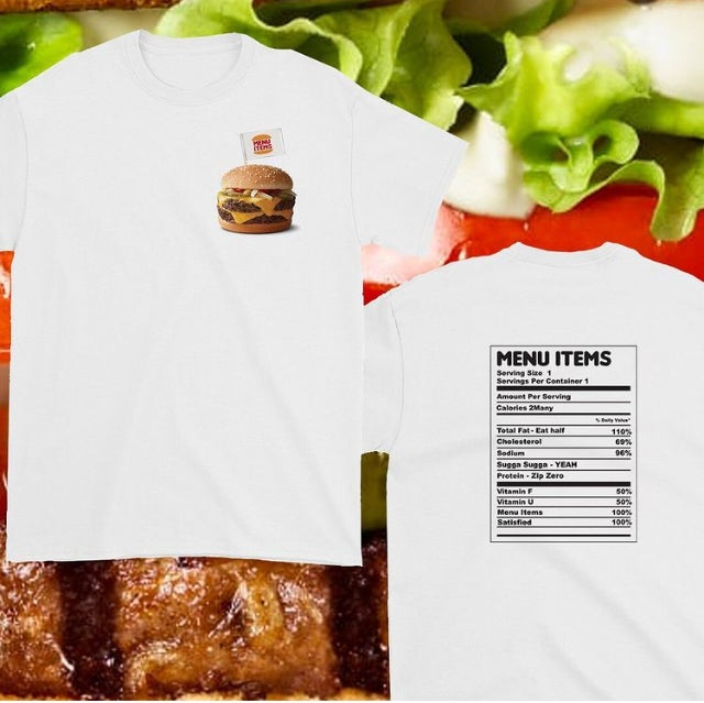 "Image of 2020 Menu Items ""Nutrition Facts"" Tee."