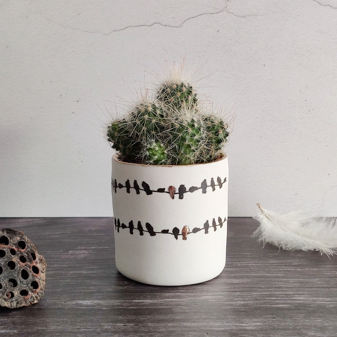 Porcelain birds on a wire small planter