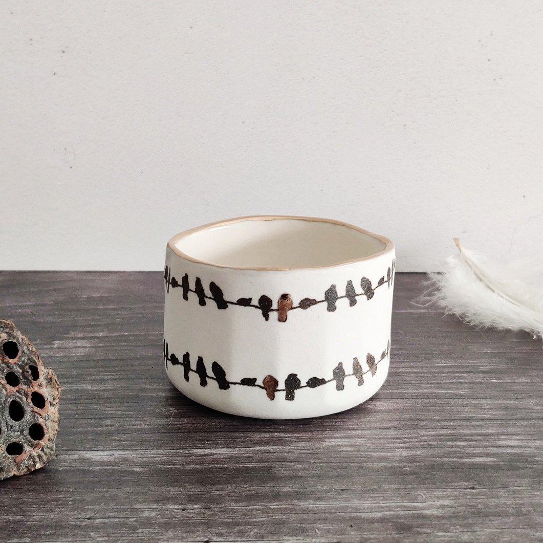 Birds on a wire porcelain tealight pot