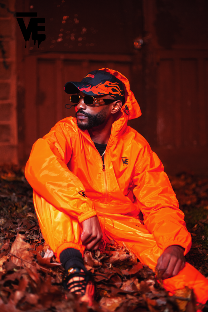 Image of Orange Unisex Windbreaker Set