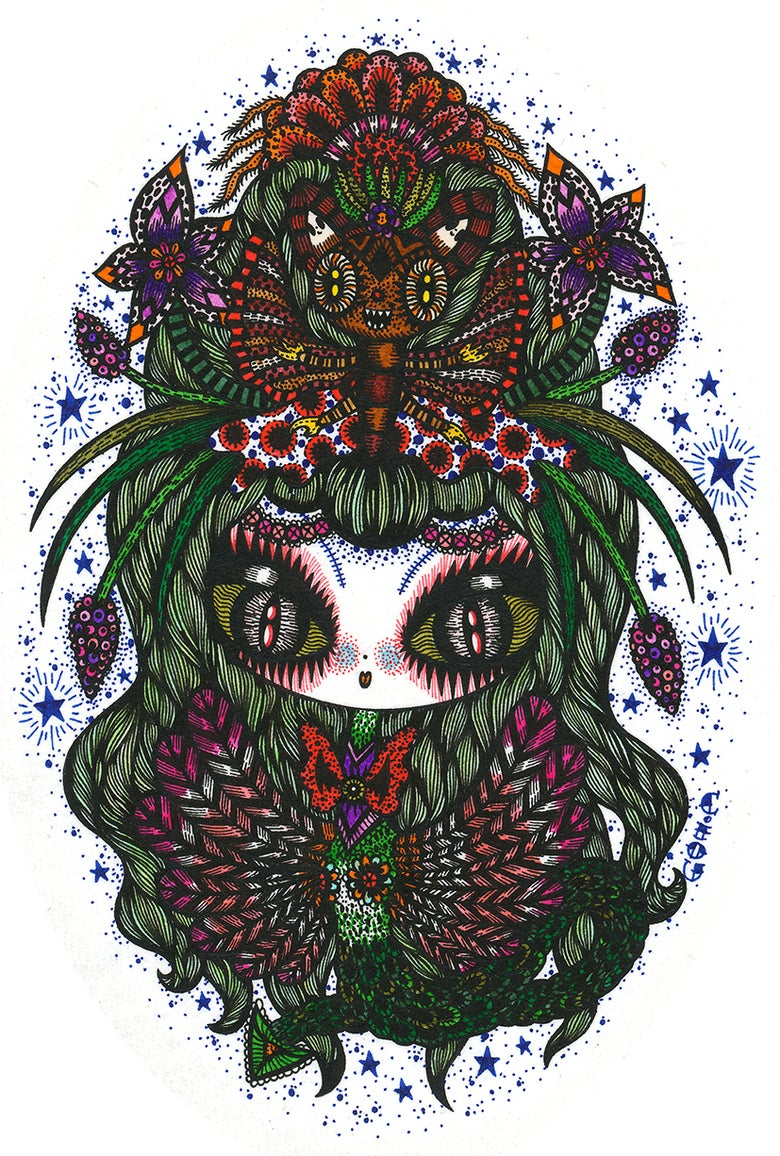 Image of Faery Dragon girl Sticker