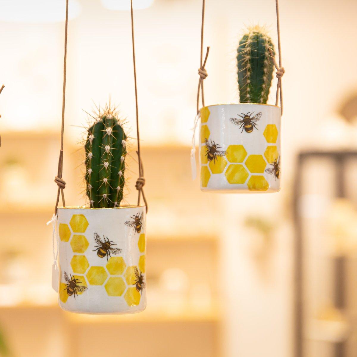Porcelain hanging bee planter