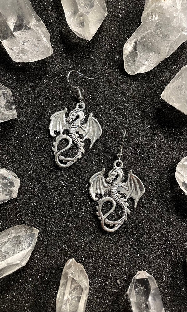 Image of SILVER DRAGON EARRINGS