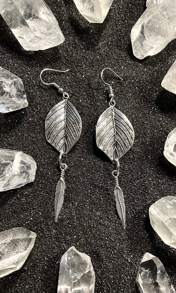 Image of SILVER LEAF FEATHER EARRINGS
